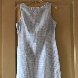 Light blue gingham plaid sheath dress